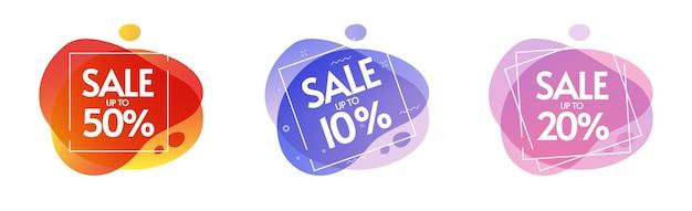 Korting op aanbieding of promotie verkoop percentage label icon set geïsoleerd