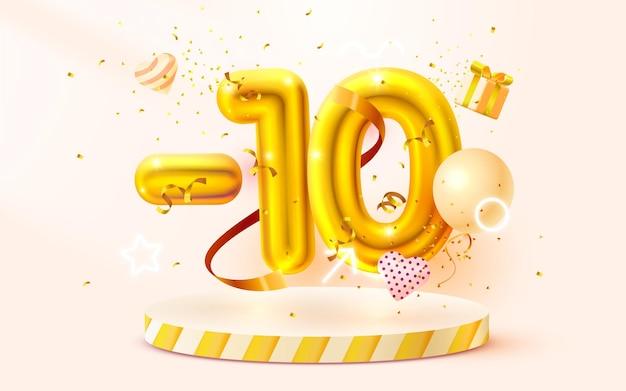 Korting op creatieve samenstelling d gouden verkoop symbool met decoratieve objecten hartvormige ballonnen gouden confetti podium en geschenkdoos verkoop banner en poster vector