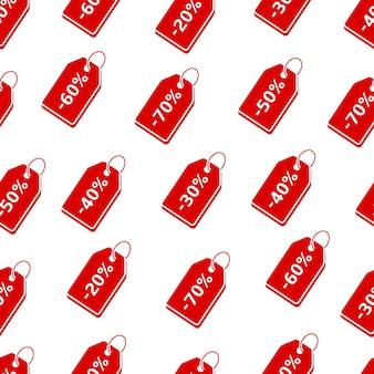 Korting rode prijskaartjes naadloze patroon