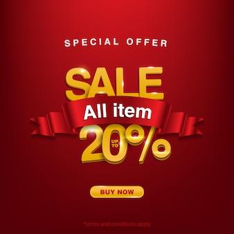 Korting speciale aanbieding verkoop alle items tot 20%