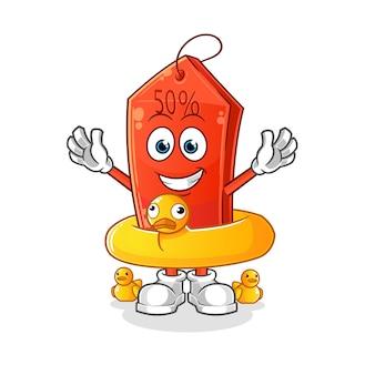 Korting tag met eendenboei cartoon mascotte