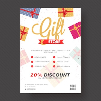 Korting tot 20% korting voor gift store.