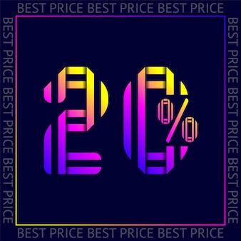 Korting van 20 procent korting op verkoop, abstracte trendy kleurnummers