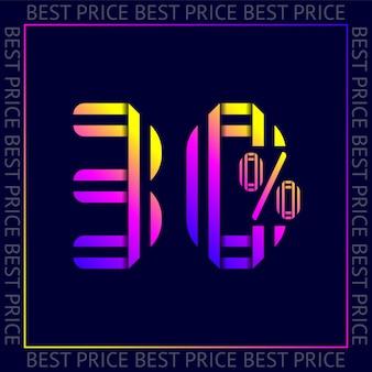 Korting van 30 procent korting op verkoop, abstracte trendy sjabloon beste prijs