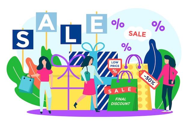 Korting verkoop concept vector illustratie platte detailhandel lagere prijs in winkel kleine vrouw klant mensen...
