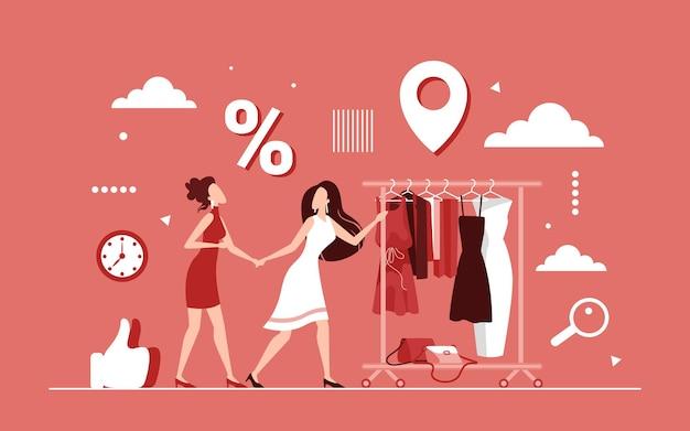 Korting winkelen op vrouwelijke kleding concept, seizoensgebonden verkoop