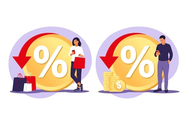Kortingen concept. korting en klantenkaart. kortingsbonnen voor prijsverlagingen. speciale vakantie aanbiedingen. vector illustratie. vlak