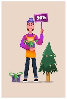 Kortingen op eerste kerstdag met geschenken. sjablonen voor sociale media