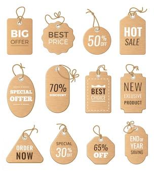 Kortingen tags. drop prijs en grote verkopen. vectorafbeeldingen van labels instellen isoleren