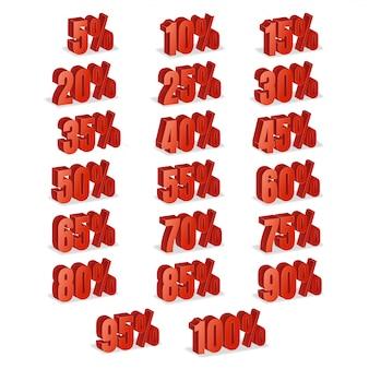 Kortingsaantallen 3d vector. rode verkoop percentage pictogrammenset in 3d-stijl geïsoleerd op een witte achtergrond.