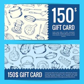 Kortingsbon of geschenkenkaart voor hand getrokken keukengerei illustratie