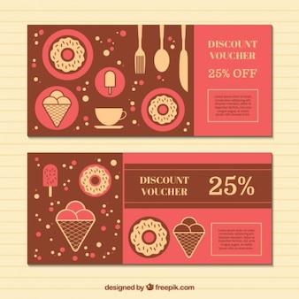Kortingsbonnen met snoepjes in plat ontwerp