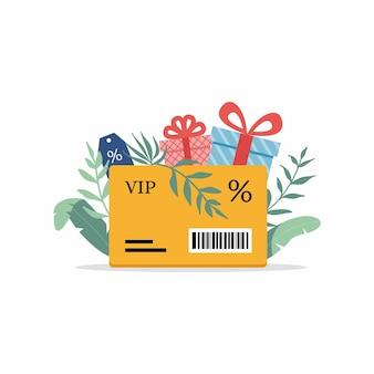 Kortingskaart met procentteken en kortingslabel loyaliteitsprogramma en klantenservice