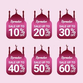 Kortingslabel van ramadan verkoop premium vector sjabloon met rood verloop