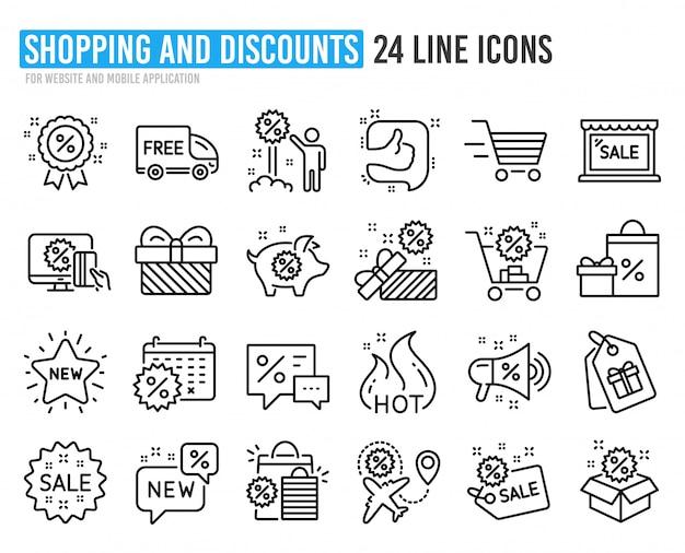 Kortingslijn pictogrammen. set van winkelen, verkoop en nieuw.