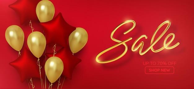Kortingspromotieverkoop gemaakt van realistische 3d-gouden ballonnen met rode sterren