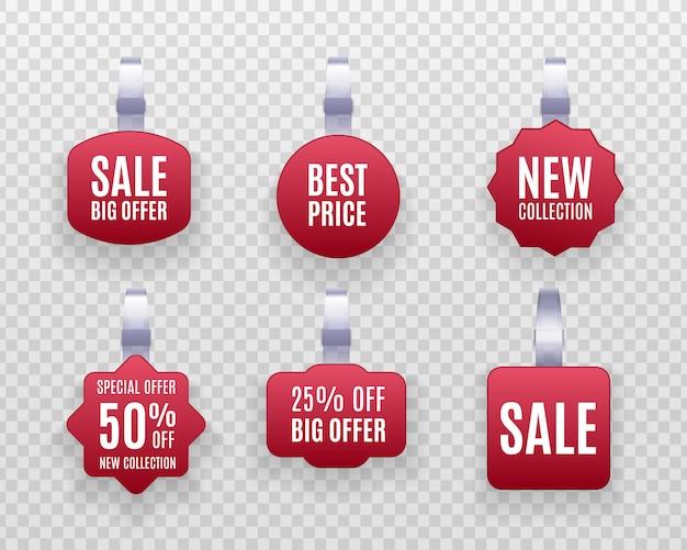 Kortingssticker, speciale aanbieding, plastic prijsbanner, label voor je. set realistische gedetailleerde rode weifelaar promotie verkoop etiketten op een transparante achtergrond.