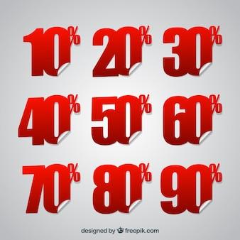 Kortingssticker van% -nummers pakket