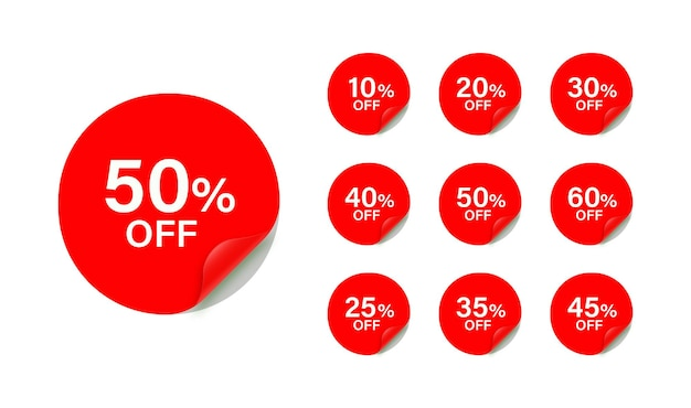 Kortingsstickerscollectie met ronde hoek verkoopbadges-tags voor aanbiedingspromotie