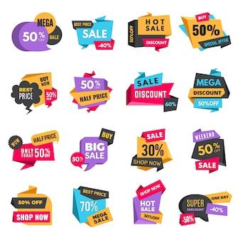 Kortingstags. productadvertenties speciale aanbieding etiketten lage promotionele prijzen