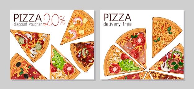 Kortingsvouchers. sjabloon voor reclame producten: pizza.