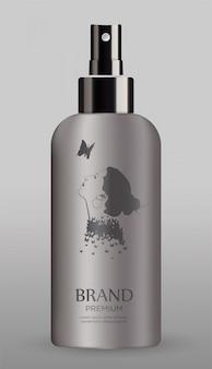 Kosmetische fles die op grijze achtergrond wordt geïsoleerd