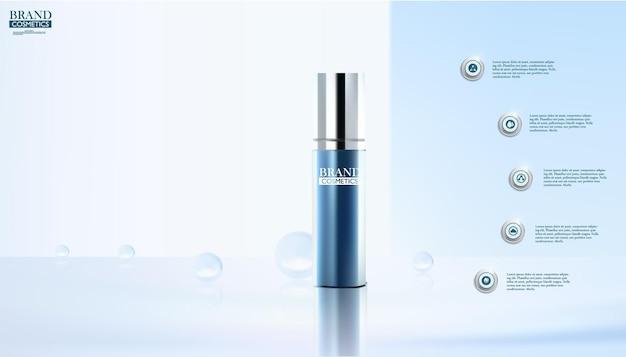Kosmetische fles op abstract blauw