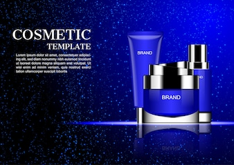 Kosmetische room met dalend blauw stof op donkere achtergrond
