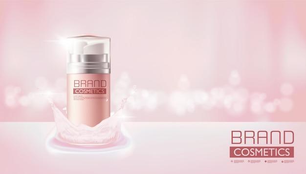 Kosmetische roze nevelfles op roze kleur, realistisch ontwerp, vectorillustratie.