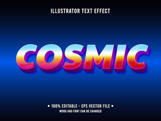 Kosmisch bewerkbaar teksteffect moderne stijl met verloopkleur