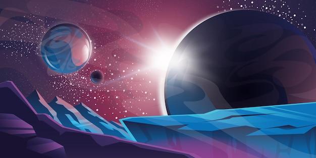 Kosmische achtergrond met buitenaardse planeet en verlaten landschap met bergen