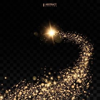 Kosmische glinsterende golf. gouden glinsterende sterren stofspoor fonkelende deeltjes ruimtekomeetstaart.