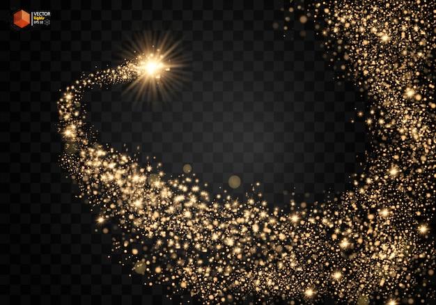 Kosmische glinsterende golf. gouden glinsterende sterren stofspoor fonkelende deeltjes