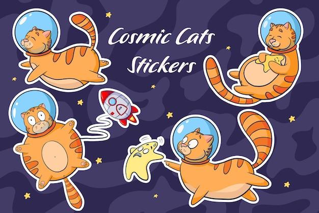 Kosmische katten cartoon stickers set. verzameling van schattige dieren in ruimte vectorillustraties. grappige katten-astronauten voor logo, kinderkamerinrichting, sticker, print, achtergrond, game-design. premium vector