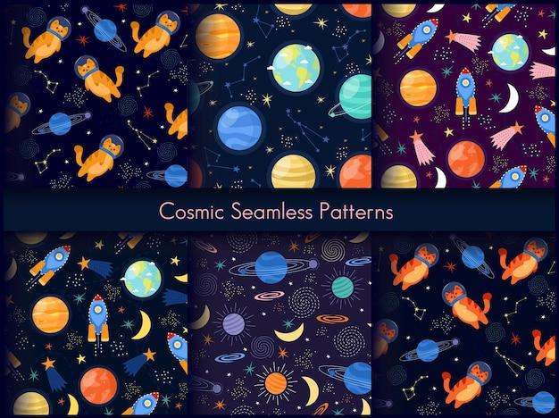 Kosmische naadloze patroonafdrukken.