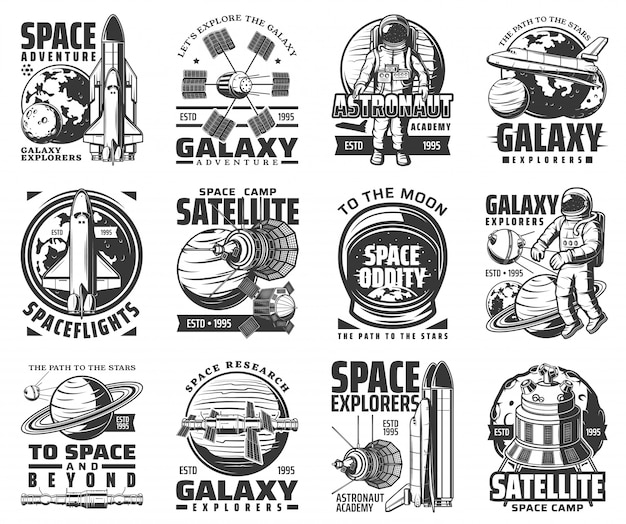 Kosmische ruimteverkenning, melkweg, astronautenpictogrammen