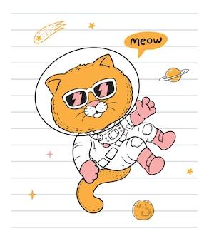 Kosmonaut kat vliegen in de ruimte doodle