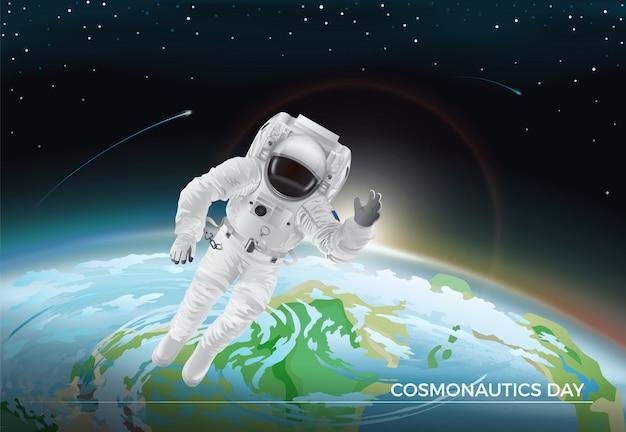 Kosmonautiek dag. vectorillustratie van vliegende kosmonaut in witte pak in de ruimte. planeet aarde