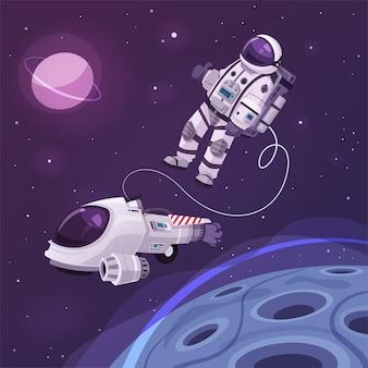Kosmonautkarakter in de ruimte