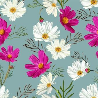Kosmos bloemen naadloos patroon