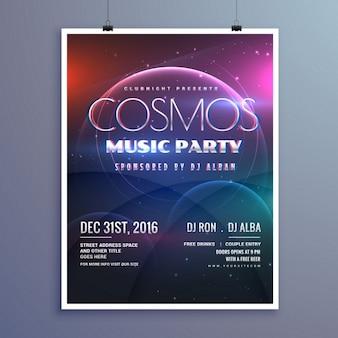 Kosmos muziek partij evenement flyer template in de moderne creatieve stijl