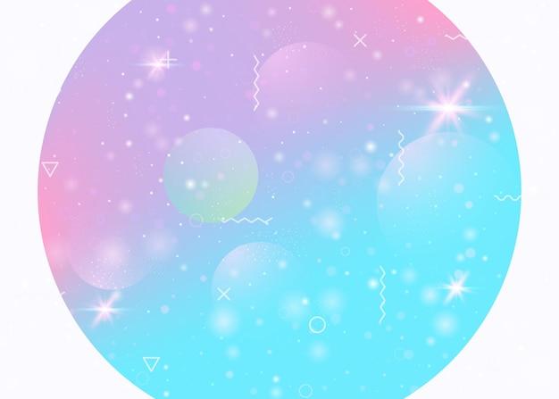 Kosmosachtergrond met abstract holografisch landschap en toekomstig heelal. 3d-vloeistof. futuristische gradiënt en vorm. stijlvol bergsilhouet met golvende glitch. memphis kosmos achtergrond.