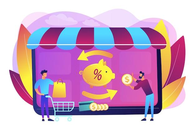Kostenbesparend. online betaling. overschrijving. financiële besparingen. cashback-service, online cashback-extensie, ontvang uw cashback-beloningsconcept.