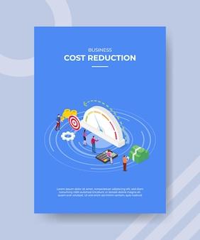 Kostenreductie concept poster sjabloon met isometrische stijl vectorillustratie