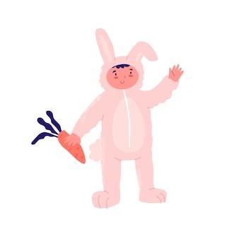 Kostuum nieuwjaarsfeest voor kids jongen in feestelijk kostuum konijn met wortel viert vakantie