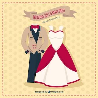 Kostuum van het huwelijk en de bruid jurk