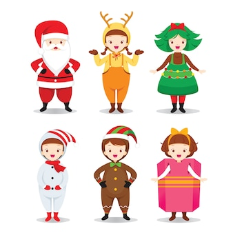 Kostuums met kerstthema in plat ontwerp