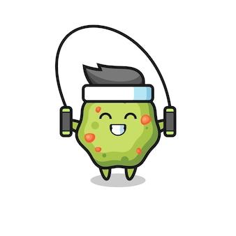Kots karakter cartoon met springtouw, schattig stijlontwerp voor t-shirt, sticker, logo-element
