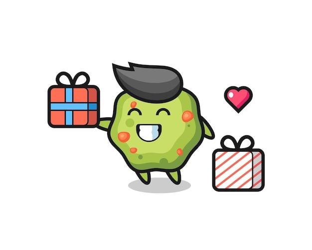 Kots mascotte cartoon die het geschenk geeft, schattig stijlontwerp voor t-shirt, sticker, logo-element