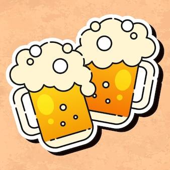 Koud bierpictogram klaar voor uw ontwerp, wenskaart, banner. vectorillustratie.